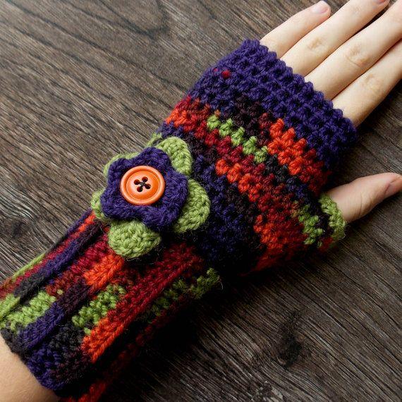 Crocheted Fingerless Gloves for Women