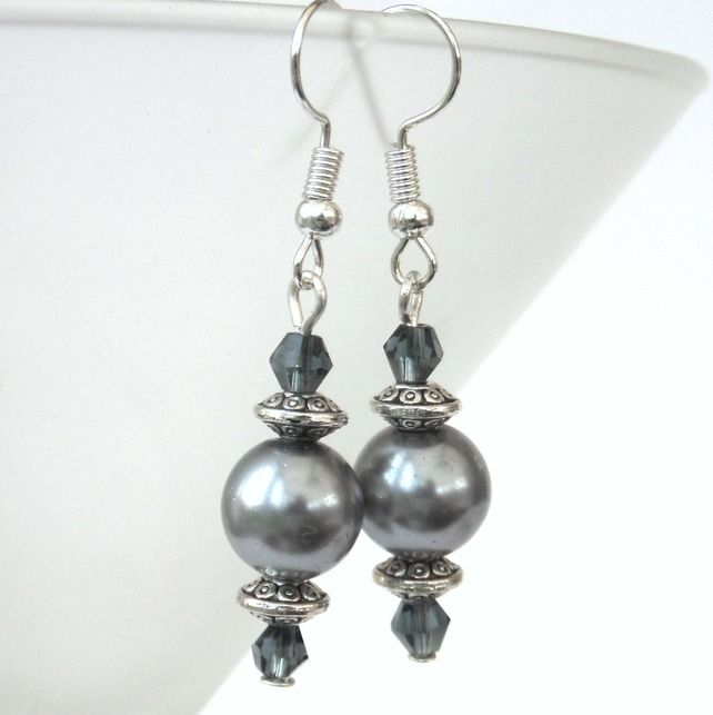 Silver shell pearl and blue crystal earrings, ideal birthday present £7.50