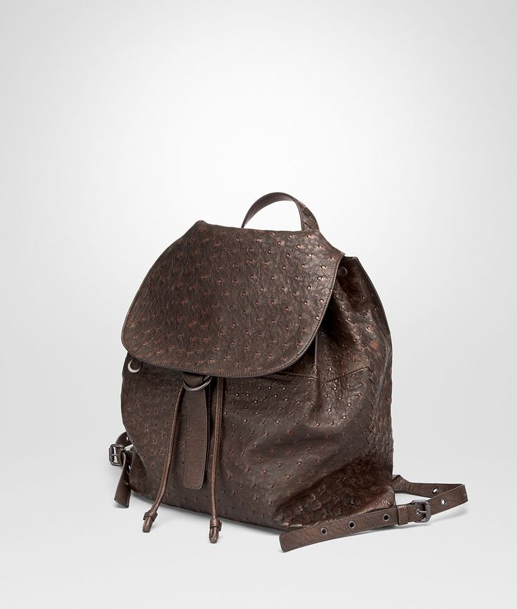 CIOCCOLATO ESPRESSO OSTRICH BACKPACK - Men's Bottega Veneta® Messenger Bag - Shop at the Official Online Store