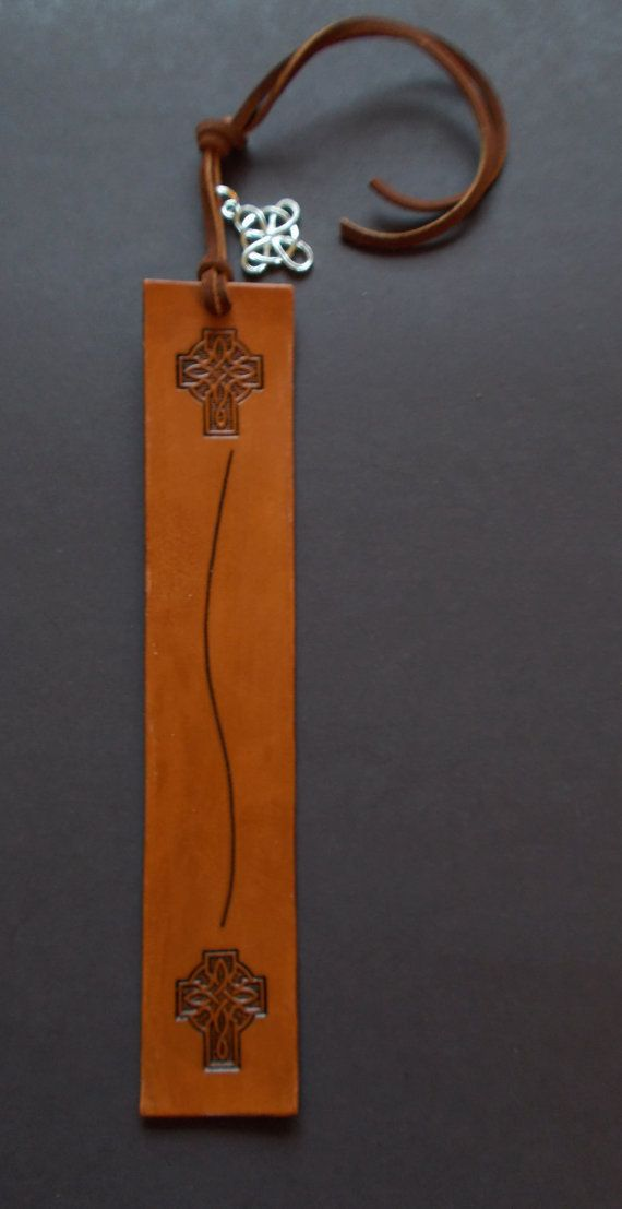 New Handmade Leather Celtic Cross Bookmark by