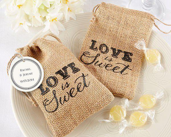 """Love is Sweet"" Burlap Drawstring Favor Bag (Set of 12)"