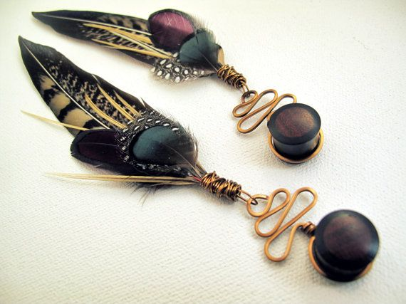 Feather Plugs 2g 0g 00g 1/2 Inch 9/16 - Plug or Tunnel Dangle Gauges with Tribal Feathers in BURLESQUE BLOSSOM: Black White Purple Teal on Etsy, $42.00