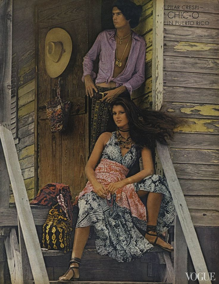 Pilar Crespi with Richie White in Puerto Rico.  Photo by Alexis Waldeck.  Vogue, May 1, 1970.