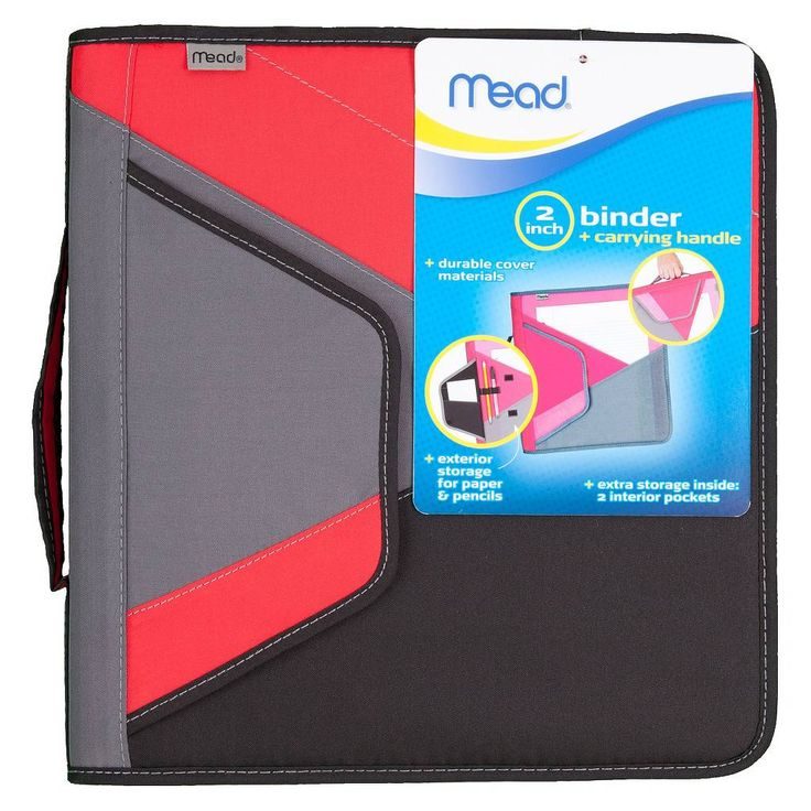 """Mead® 2"""" 3 Ring Zipper Binder With Carrying Handle, 8.5"""" X"""