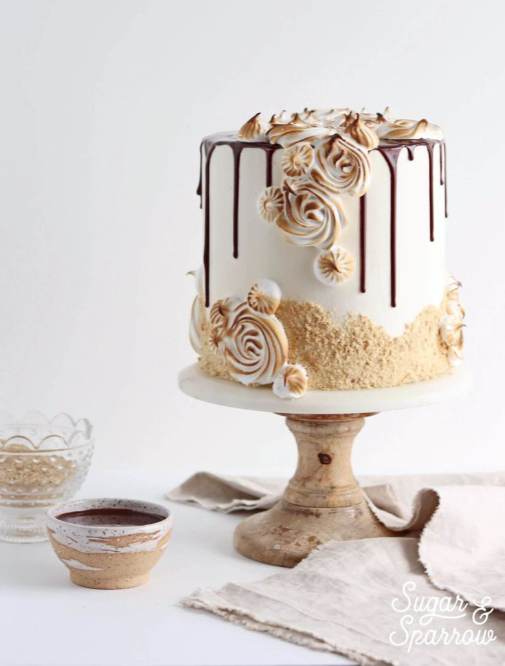 toasted marshmallow smores cake by sugar and sparrow
