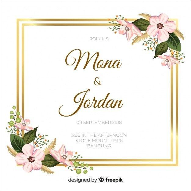 Gold Frame Border Png Floral Wedding Invitations Wedding Invitation Vector Invitation Frames