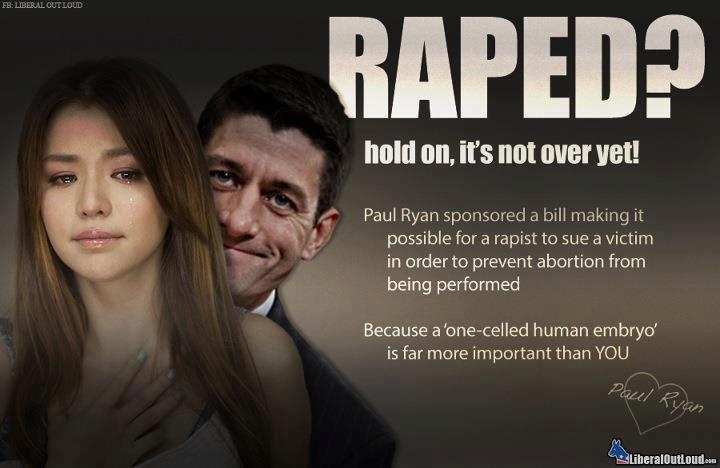9/22/15  4:45a  Paul Ryan  Rep Wisconsin This guy is evil I cannot help wonder why he is making these pro-rapist bills. Does he or his family need them personally? politicususa.com