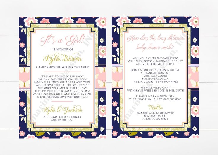 Long Distance Baby Shower Invitation   Shower By Mail Invite   Virtual Baby  Shower Invitation