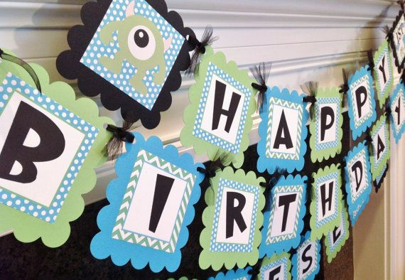 Monster Inc Birthday Banner - Lime Green Chevron Blue Polka Dots with Black accents - Party Pack Specials Available on Etsy, $28.00