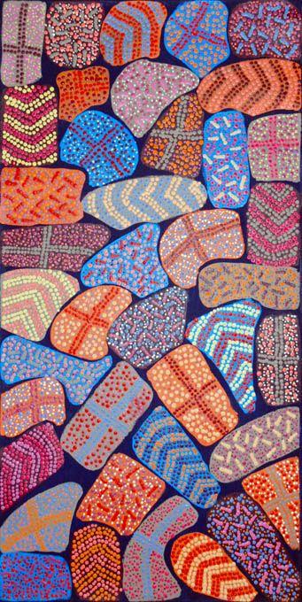 Adrianna Egan NAGALA_Yarla Jukurrpa - Cockatoo Creek #painting #aboriginal #aborigene #contemporain