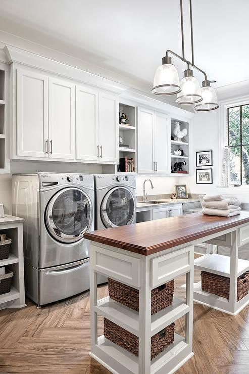 Amazing laundry room design with wood Top Laundry Room Island with Shelves   Forte Building Group