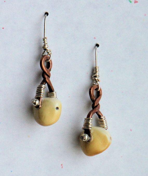 Upcycled Copper and Elk Ivory Earrings by LostTreasurebyJackie, $26.00Lana