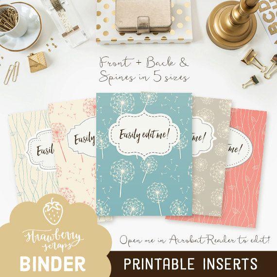 "Printable binder cover: ""DANDELIONS"" 5x set Covers + Spines | Binder insert | Binder printable | Teacher binder | School binder | Inserts"