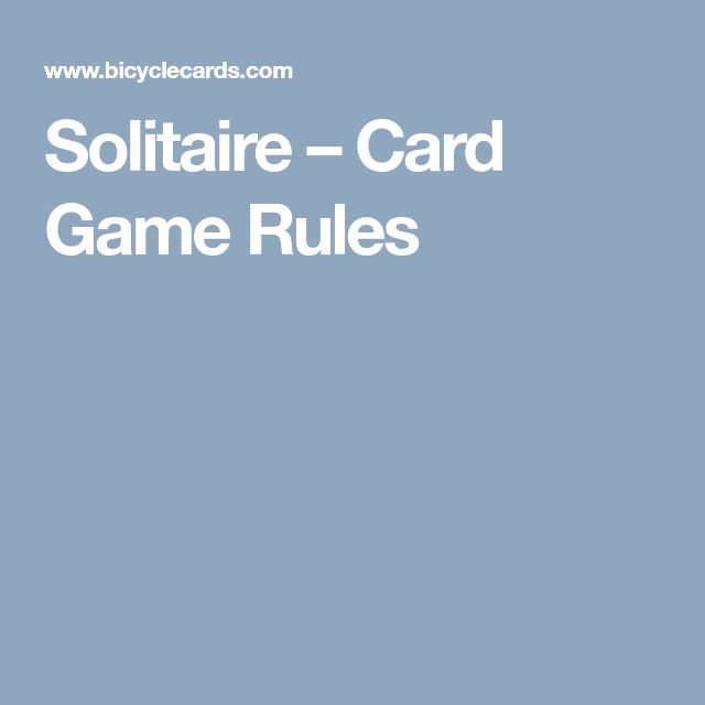 Solitaire – Card Game Rules