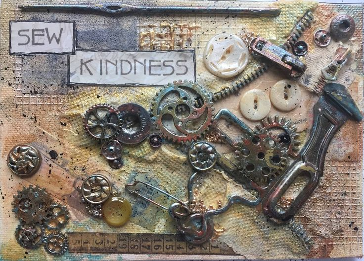 I created this piece from old buttons, zipper parts, snaps, etc. that I had collected over the years, as well as new embellishments.  I think of my granny and my mother when I look at it. I grew up watching them sew...fabric as well as kindness.