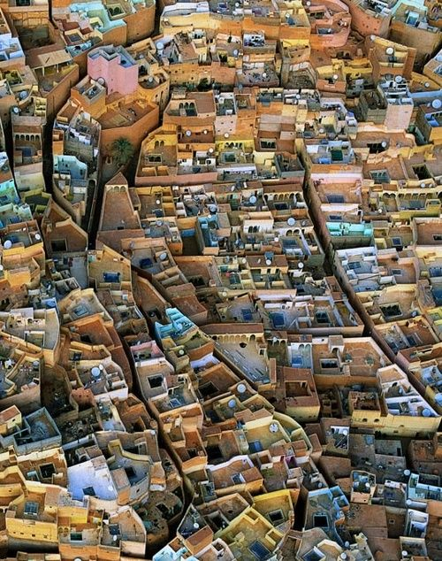 Aerial view of El Ateuf, M'Zab Valley, Algeria (32°27'N, 3°44'E)