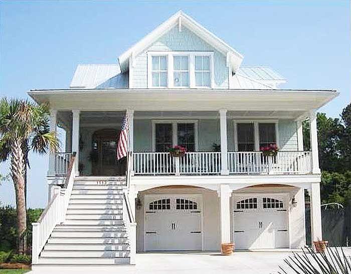 Image Result For Garage Under House Decks Coastal House Plans Beach House Plan Beach House Plans