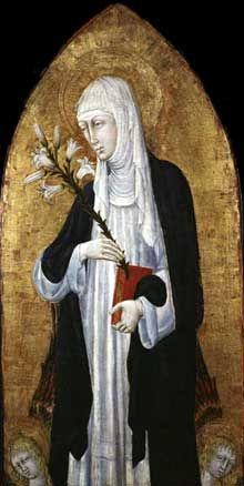 Giovanni di Paolo: sainte Catherine de Sienne. Tempera et or sur bois, 108.6 x 53.3 cm. Cambridge, Fogg Art Museum