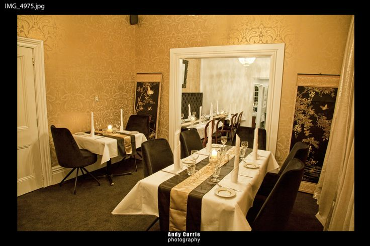 Our gold and black dining room.  Set for a special occassion