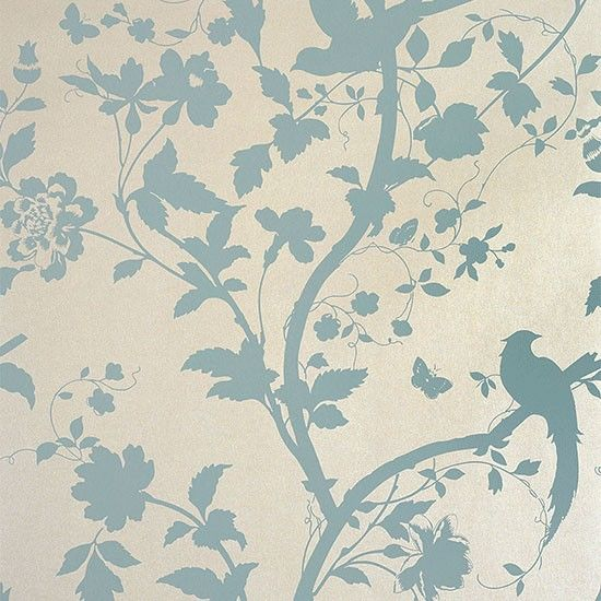 Oriental Garden Floral wallpaper in Duck Egg, £38 per roll, Laura Ashley