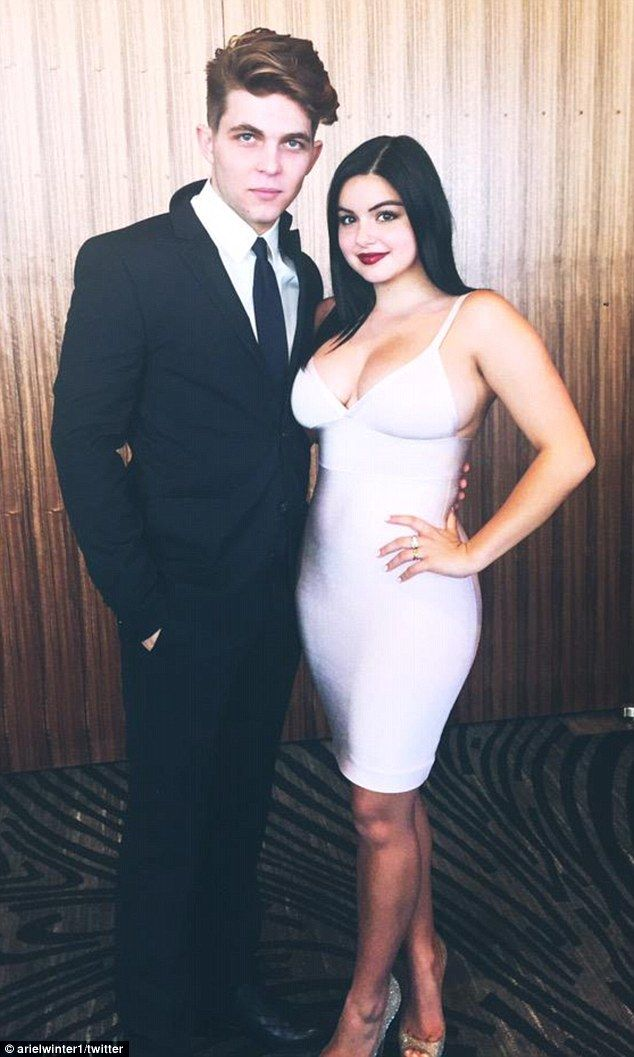 Not hiding any more: Ariel Winter is reveling in her new-found body confidence after having a breast reduction and put her figure on show during a date night with  boyfriend Laurent Claude Gaudette over the weekend