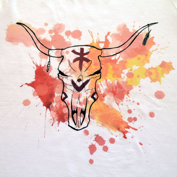 Cow Skull printed t-shirt di ClanWeAreClothing su Etsy