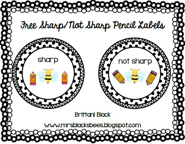 "FREE Sharp/Not Sharp Pencil Labels ....Follow for Free ""too-neat-not-to-keep"" teaching tools & other fun stuff :)"