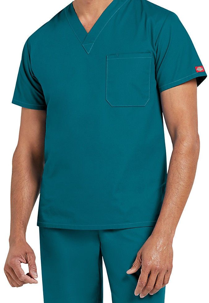 Dickies Medical Men/'s EDS Signature Red One Pocket Top Sz S-3XL NWT
