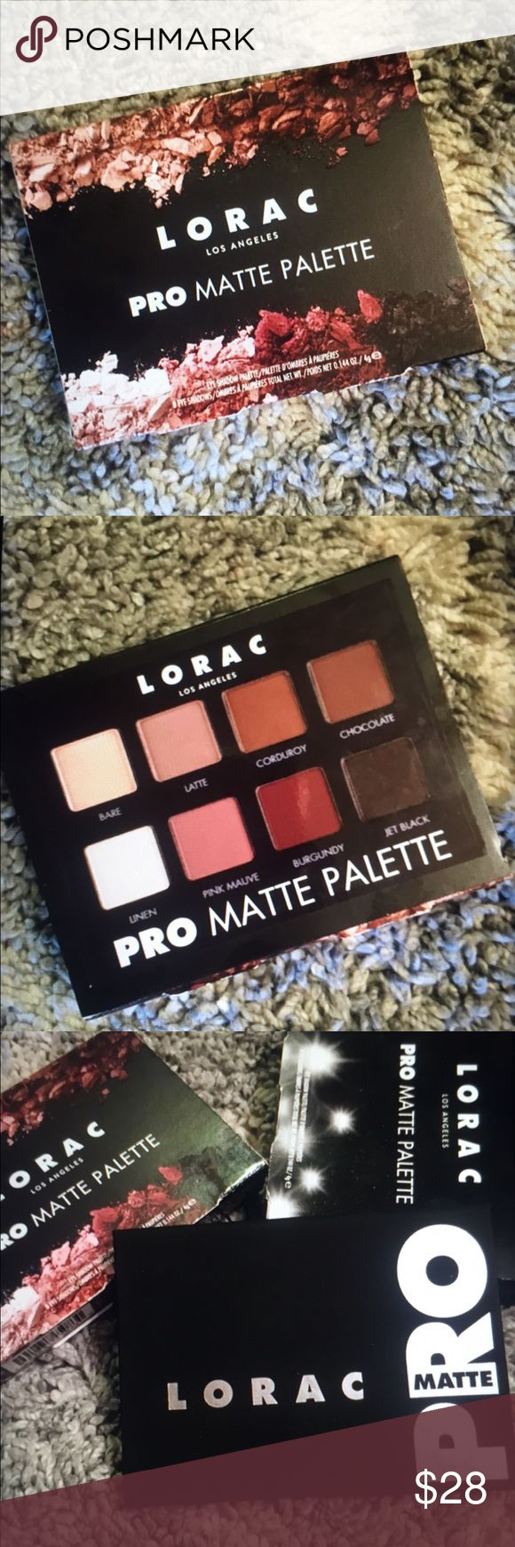 Lorca eyeshadow palette💕 New in box, took out for pics... Lorac Pro matte palette! ❤ beautiful color and contour, stays on all day. A great product! lorac Makeup Eyeshadow