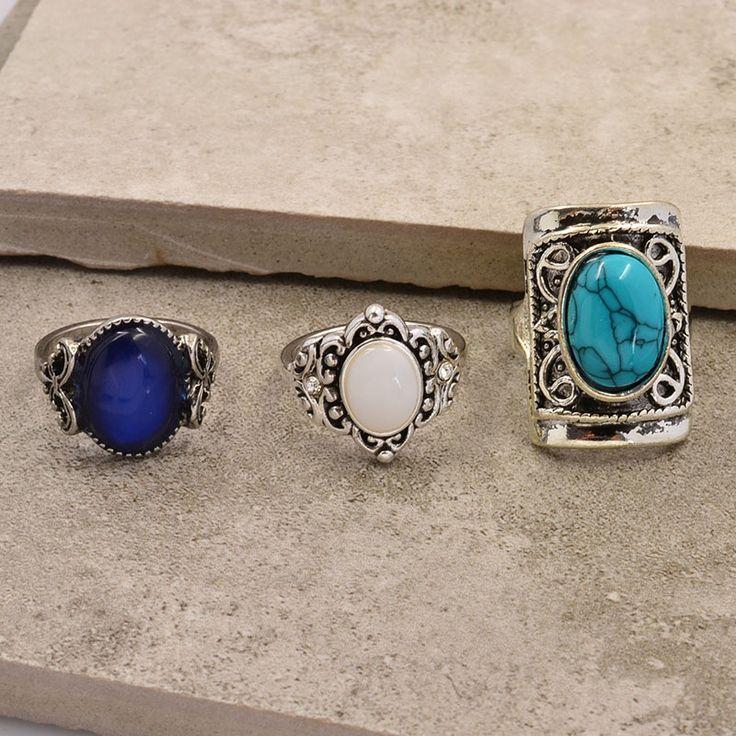 Nuevo vintage accesorios de joyería de plata de color turquesa de ópalo set anillo del dedo para para la muchacha del bonito regalo R1518