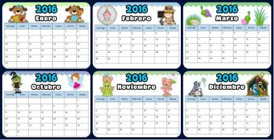 Precioso Calendario 2016, con imágenes dulces e infantiles