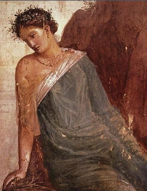 Fresco of a nymph from Pompeii.
