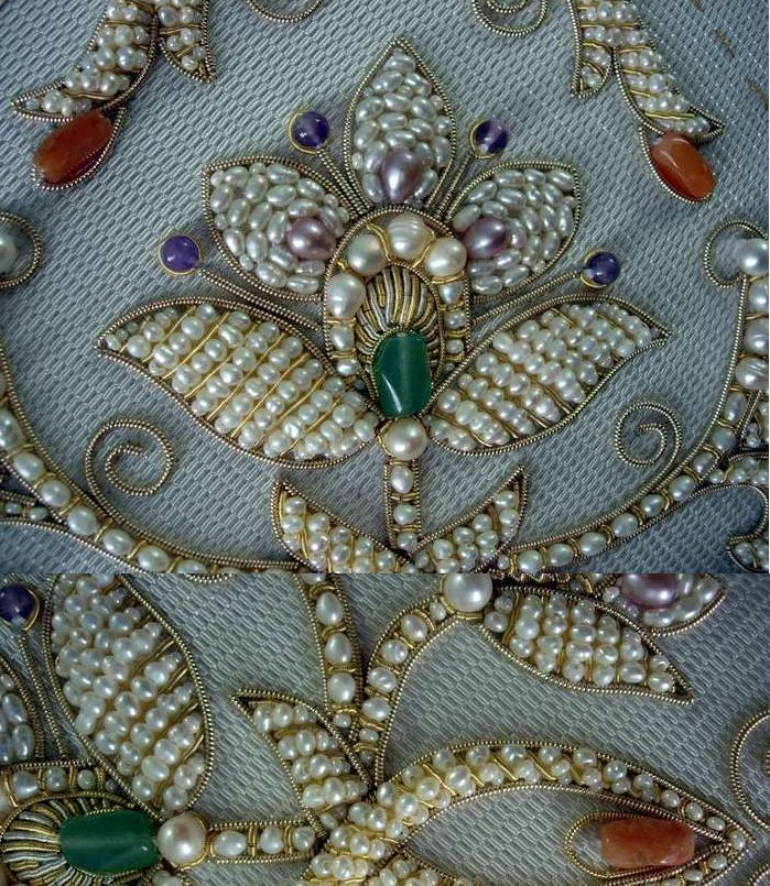 Золотое шитьё канителью. Ручная вышивка металлической и шёлковой нитью,жемчугом.