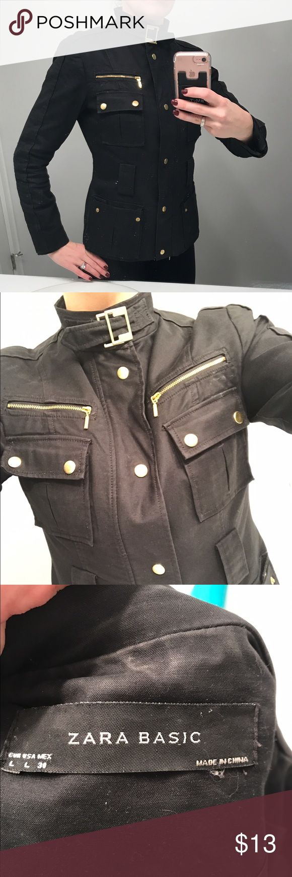 Black Zara jacket Really cute black Zara jacket with tons of gold zippers and closure at neck , had a belt it's missing and zipper doesn't work but it buttons up and still looks stunning lots of life says large but runs small more like medium Zara Jackets & Coats Utility Jackets