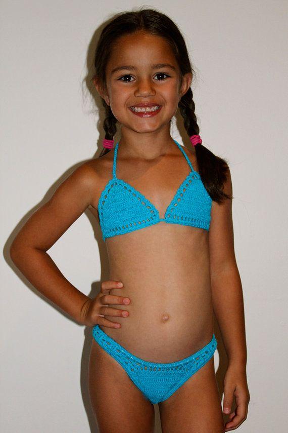 Large Cream Children S Crotchet Swim Bikini Large Age