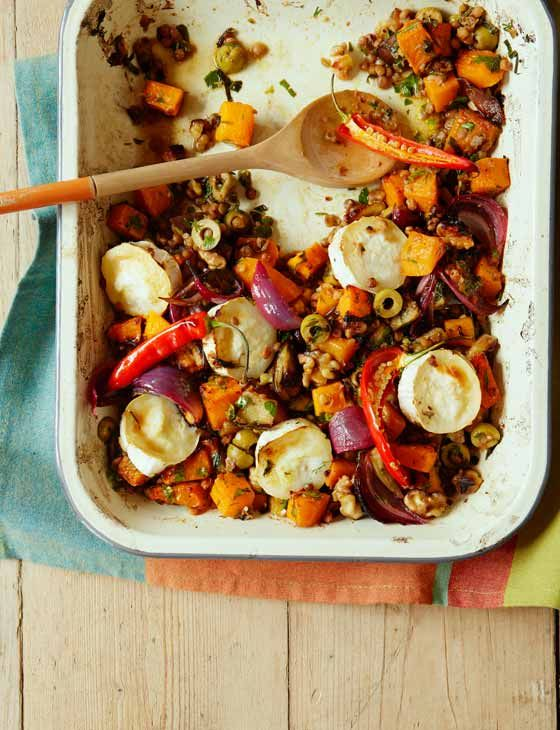 Roasted veg with lentils & goats' cheese | This delicious gluten free recipe is a wonderful option for dinner this week. With a huge selection of ingredients this yummy bake is sure to become a firm favourite