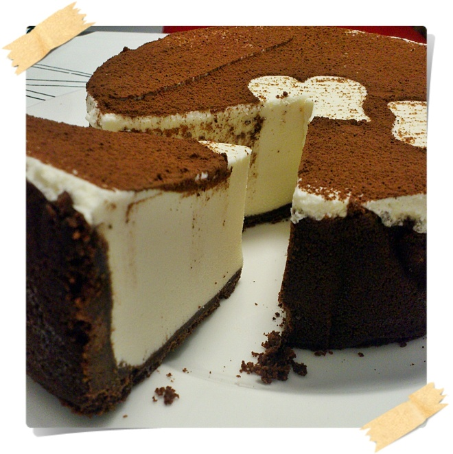 Cheesecake tiramisu. Made something similar to this. Would definitely put a lady finger crust and possibly an instant espresso powder chocolate ganache.