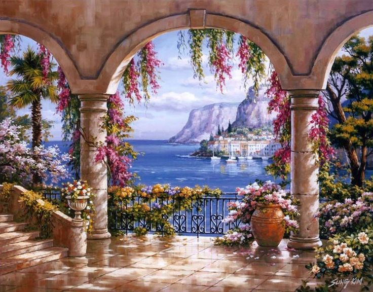 Floral Patio I By Sung Kim ~ Mediterranean Coast