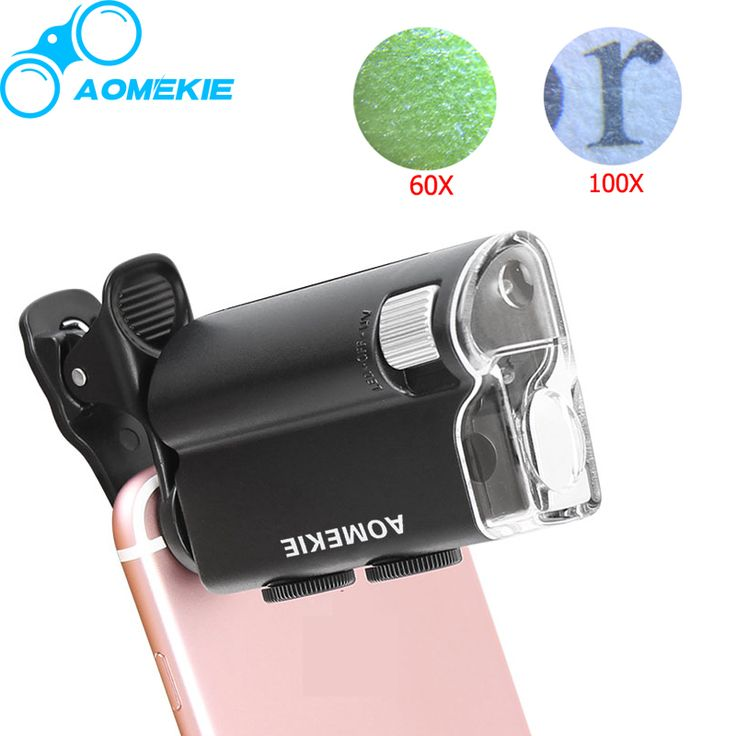 Universele Clip LED Zoom 60X-100X Microscoop Vergrootglas voor Cellphone UV Valuta Detectting Biologie Sieraden Beoordeling Microscoop