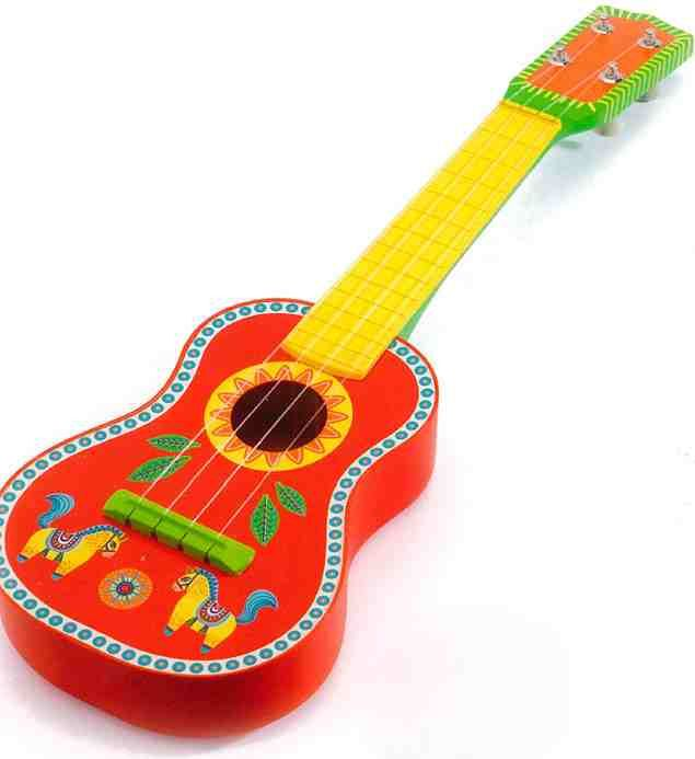 Animambo wooden guitar for children - beautiful intensive colours: red and yellow. Decorated with little images. For ambitious little mucisians! #backtoschool