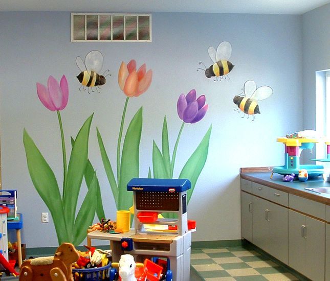 Church nursery room ideas google search sparks room for Church nursery mural