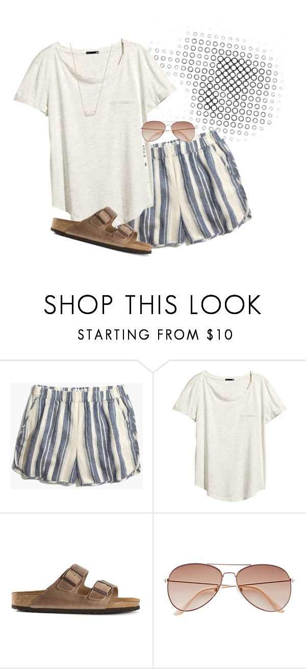 """Beach bum style"" by morganmcghee on Polyvore featuring Madewell, H&M, Birkenstock and Kendra Scott"