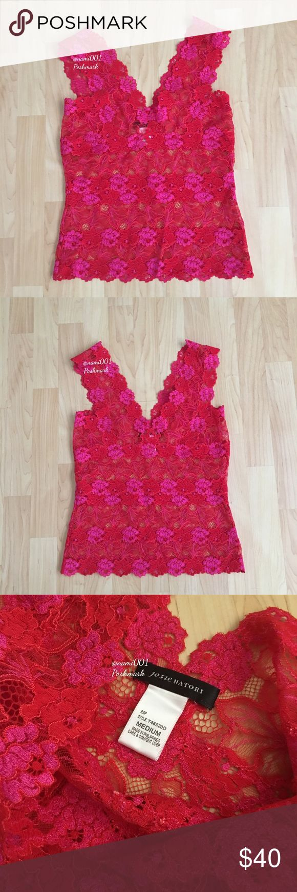 """Josie Natori Bralette Bardot Top EUC This adorable bralette from Josie Natori is perfect to wear with an open shirt tucked into some skinny distressed jeans or under a sheer blouse. Only wore once for a couple of hours but it's too big for me so this is in excellent condition. Pretty pink and red lace dragon with floral appliqué. Measures: 15"""" underarm to underarm, 7"""" straps, 15"""" underarm to hem. This is cropped right above the belly button. Super sexy and cute. Josie Natori Tops"""