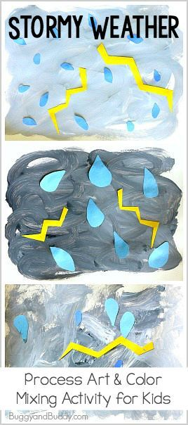 Stormy Weather Process Art Project for Kids: Add this easy art activity to your next weather unit- fun way for toddlers, preschoolers, and kindergarteners to explore color mixing while making their own thunderstorms! ~ http://BuggyandBuddy.com