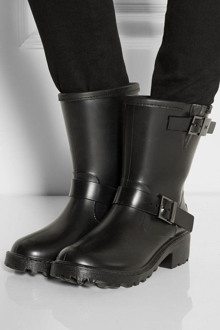 MICHAEL Michael Kors | Davenport leather-trimmed rubber rain boots ...