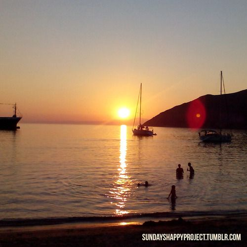 Happiness is swimming in the sunset. (Eyiali, Amorgos island, Greece)