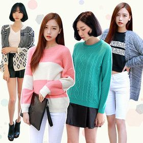 Gmarket - Turtleneck knit top / sweater / patterned / solid colo...