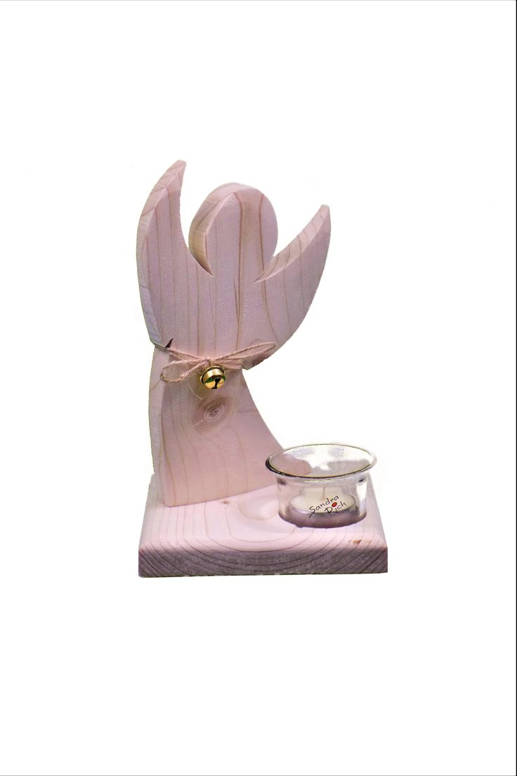 Holzengel mit Teelichtglas | Engel aus Holz | Allgaier-Allerlei