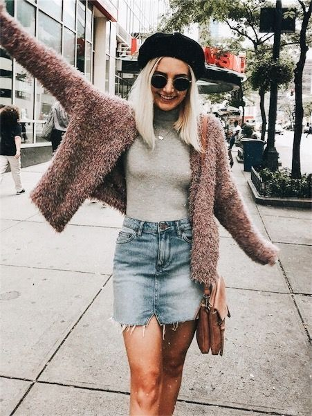 Cozy mauve cardigan over gray top and denim mini skirt with cute black beret.