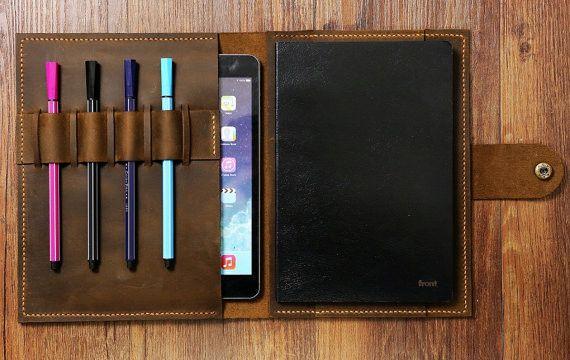 Tablet-PC-Taschen - braunem Leder Portfolio Veranstalter for Life Plan - ein Designerstück von CanvasLeatherArt bei DaWanda